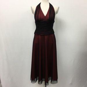 NWOT JS Boutique Halter Red Black Sheer Beaded